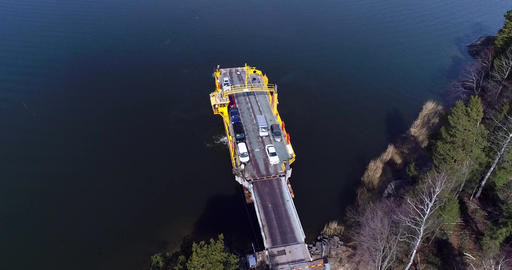 Skåldö cable ferry, Cinema 4k aerial orbit view of a cars leaving a yellow cable Live Action