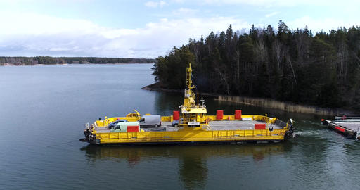 Skåldö cable ferry, Cinema 4k aerial view of a sideway flight following a yellow Footage