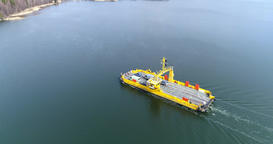 Skåldö cable ferry, Cinema 4k aerial pan view of a yellow cable ferry, in Live Action