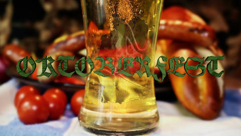Pouring Beer Into Glass With Bavarian White And Red Sausages Octoberfest Filmmaterial