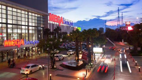 Mega Bangna is a large shopping mall in Bangkok Footage