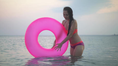 Girl bathes in the sea Image