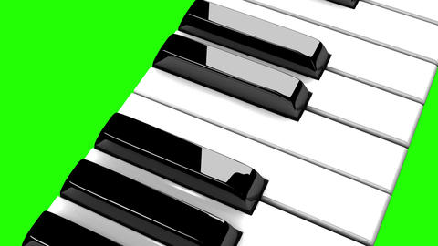 Piano Keyboard On Green Chroma Key, Stock Animation