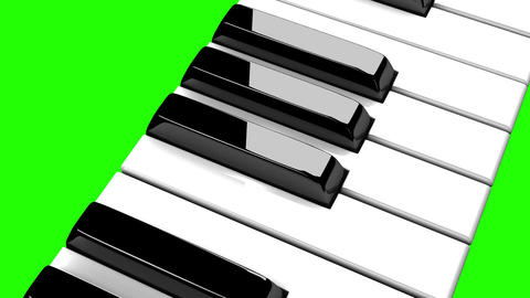 Piano Keyboard On Green Chroma Key Stock Video Footage