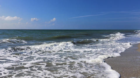 View from the shore to the Black Sea with waves Footage