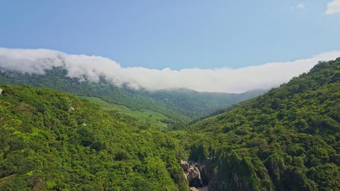 Amazing Aerial View Mountains and White Clouds Line Live Action