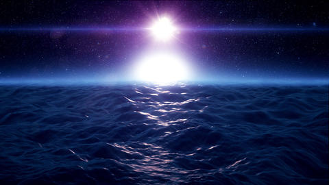 Blue Sci-Fi Outworld Rough Ocean Sea Environment Loopable Background Animation