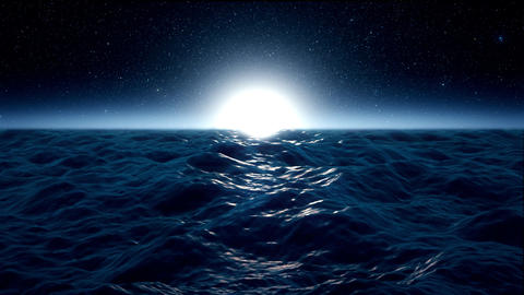 Blue Rough Ocean Sea with Moonlight Environment Loopable... Stock Video Footage