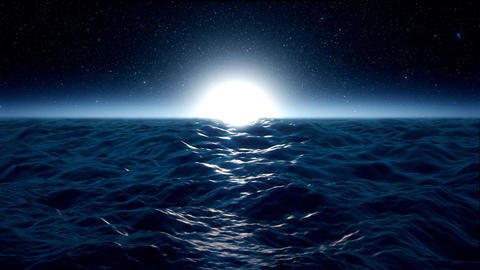 Blue Rough Ocean Sea with Moonlight Environment Loopable Background Animation