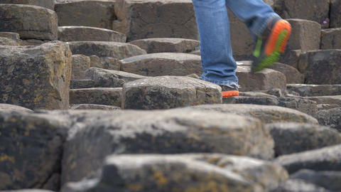 Tourist Walking On Giant Causeway, Northern Ireland - Native Version Footage