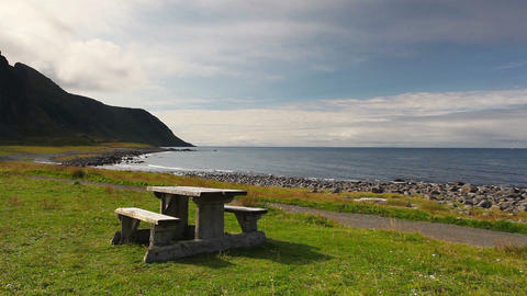 Picnic area on the beach in Eggum Image