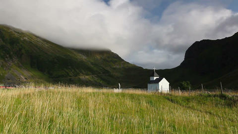 Small white chapel near the Bostad, Norway Archivo