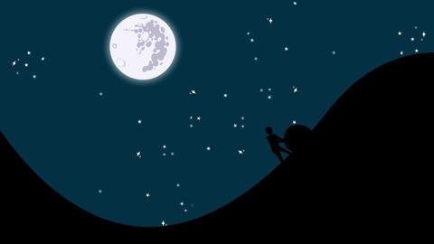 The Myth of Sisyphus Rolling a Rock Uphill ビデオ