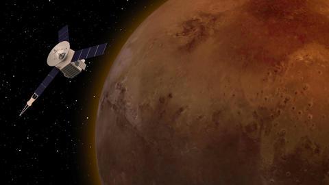 Satellite revolving over mars atmosphere Footage