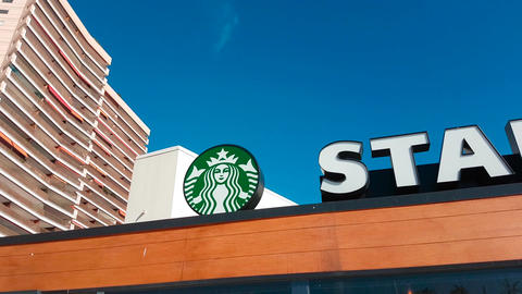 Starbucks Coffee Sign Footage