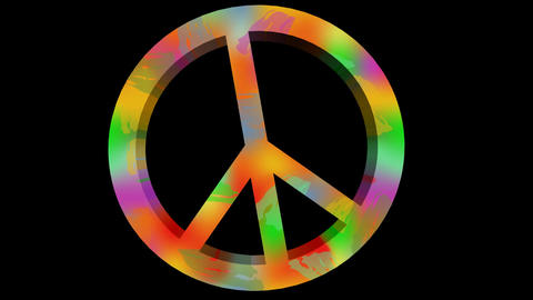 For peace animation with anti war symbole in rainbow colors. 3d antiwar sign in  Animación