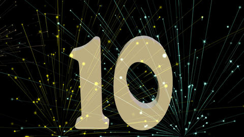 New Year countdown from number 10, second intervals. 3d vintage numbers falling  Animación