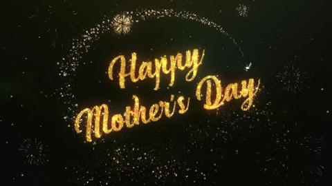happy mothers day Greeting Text Made from Sparklers Light Colorfull Firework Animación