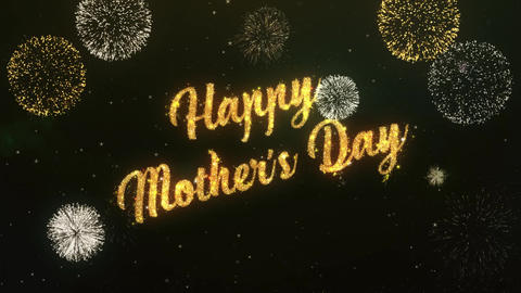 happy mothers day Greeting Text Made from Sparklers Light…, Stock Animation
