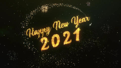 Happy New Year 2021 Greeting Text Made from Sparklers Light Colorfull Firework Image