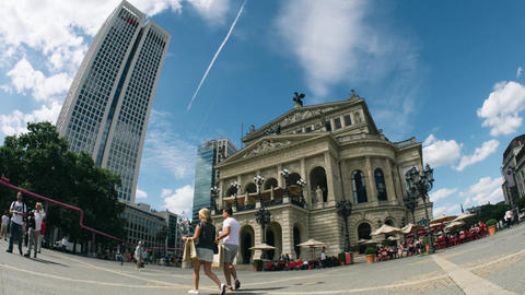 Old opera house in Frankfurt time-lapse Footage