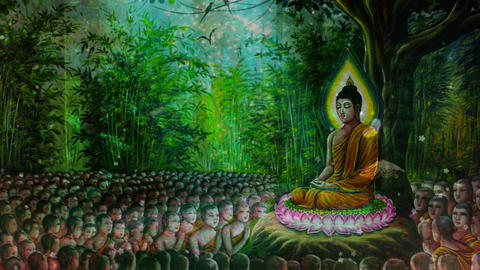 The fantasy background of Buddha preaching Animación