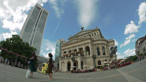 Asian girls taking selfies in fron of old Frankfurt opera 4K UHD 23.976 2160p Footage