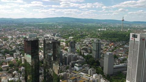 Frankfurt skyline panorama 4K UHD 2160p 23.976 fps Footage