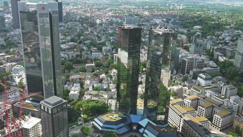 German twin bank in Frankfurt skyline business concept GIF