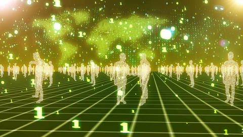 Digital business people in green cyberspace Animation