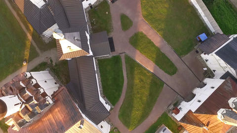 Aerial view of The monastery in Russia, geometrical drawing of the yard Footage