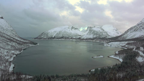 Winter Fjord in Norway and Dramatic Sky. Time Lapse Footage