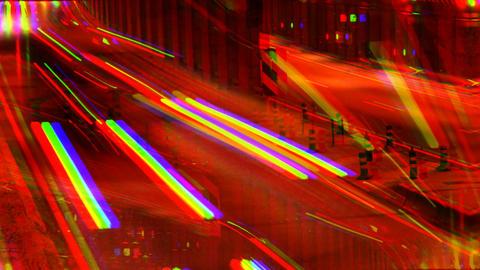 Warped image highway night Footage