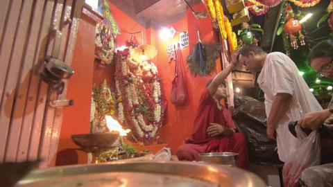 Hindu priest worshipping Lord Hanuman Footage