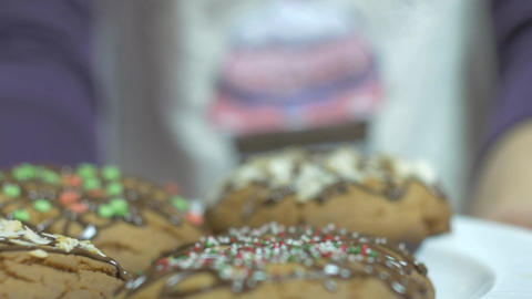 A plate of home-made cookies with shallow depth of field Footage