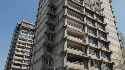 Tall residential building vertical panorama Footage