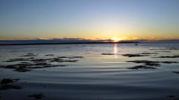 Blue and purple sunset in Rimouski, Quebec by Saint Lawrence river in Gaspesie Footage