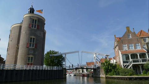 Bridge open and close at the port of Enkhuizen, time lapse Footage