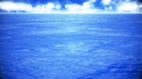 Blue Sea Ocean Panorama Loopable Animation Background Stock Video Footage