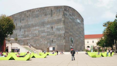 VIENNA, AUSTRIA - AUGUST 12, 2017. Famous mumok or MUseum MOderner Kunst, modern Footage