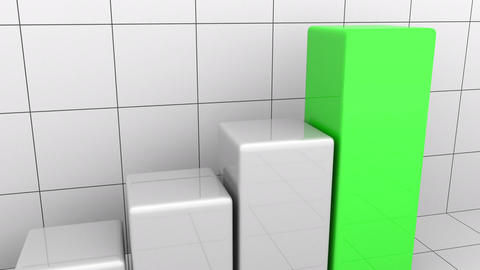 Animated growing chart or grey and green bar graph. Business growth or success Footage