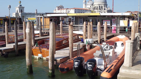 VENICE, ITALY - AUGUST 8, 2017. Moored motorboats near the San Marco square Footage