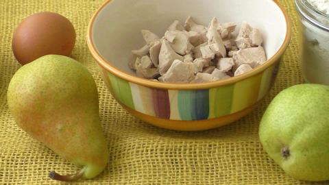 Fresh yeast. Fresh organic pears on yellow sacking Live Action