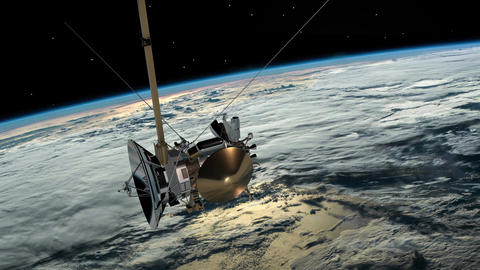 Satellite similar with the Cassini orbiting planet earth. Communications Image