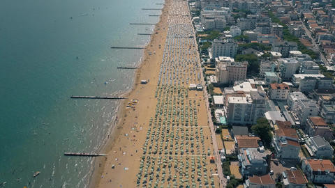 Huge crowded sandy beach in Italy Footage