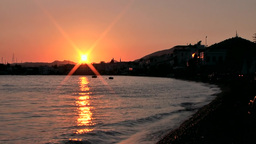 Turkey the Aegean Sea Bodrum 044 the bay with golden sunset Footage