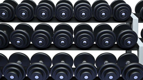 Dumbbells on a rack, loop Animation