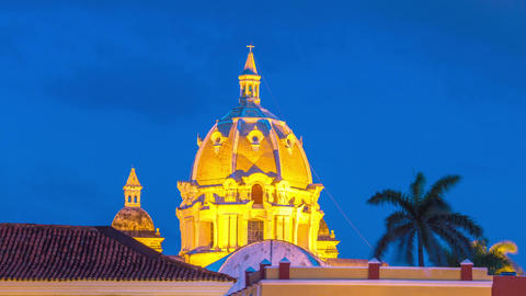 Time Lapse of a Church in Cartagena Footage