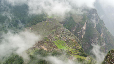 Machu Picchu in Fog Time Lapse Footage