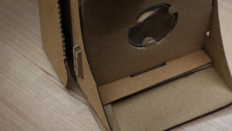 Cardboard Glasses For Virtual Reality Smartphone Accessories On Rotating Table Footage